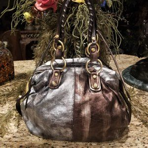 FRANCESCO BIASIA Metallic Distressed Leather Hobo